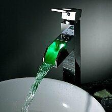 Zeitgenössische Chrom Messing personalisierte Einhebel LED Waschbecken Wasserhahn - Silber