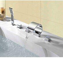 Zeitgenössische Deck gebucht dreifach Wasserfall Spray Griff Bad-Armatur mit Dusche