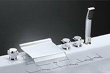 Zeitgenössische traditionelle Art Deco/Retro weit verbreitete Wasserfall mit Keramik Ventil drei griffen fünf Löcher für Chrome Badewanne Wasserhahn