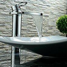 Zeitgenössische Wasserfall einzigen Griff Chrom Waschbecken Armatur Waschbecken Mischbatterie (Hoch)