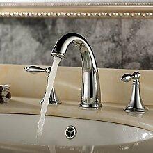 Zeitgenössischer / moderner Keramik Ventil zwei Griffen drei Löcher für Chrome Badewanne Wasserhahn / Badezimmer Waschbecken