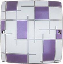Zeitlose Wandleuchte aus Glas E27 Fassung bis zu 60W in weiß lila Wandlampe für Innen