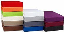 Zeitloses Jersey Topper Spannbetttuch Boxspring Spannbettlaken - 4 Größen und 13 Farben - 100% Baumwolle - 160g/m² bordeaux / weinrot 90-100 x 200 cm