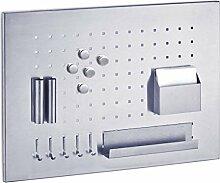 Zeller 11125 Memo-Board Edelstahl 50x35cm mit Utensilien