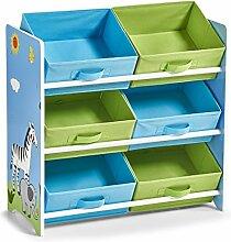 Zeller 13499 Kinder-Regal m. Vliesboxen Safari, MDF, Dekor, 63 x 30 x 65 cm