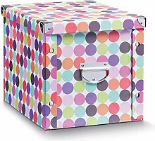 Zeller 17894 Aufbewahrungsbox Dots Pappe, 27.5 x