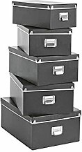 Zeller 17950 Boxen-Set, 5-tlg., Pappe, schwarz