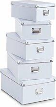 Zeller 17951 Boxen-Set, 5-tlg., Pappe, weiß