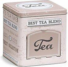 Zeller 19160 Teedose mit Klappe Tea, eckig, Metall, ca. 13 x 12,9 x 13,6 cm