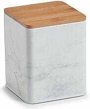 Zeller 19330 Vorratsdose Marmor m. Bamboodeckel, Metall, Weiß, 11.9 x 11.9 x 14.6 cm