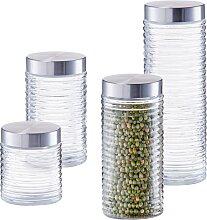 Zeller Present Vorratsglas gerillt (Set, 4-tlg.)