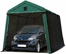 Zeltgarage 2,4x3,6 m Weidezelt PREMIUM Carport mit 500 g/m2 PVC Plane in dunkelgrün Unterstand Lagerzelt Garage aus 100% Stahl