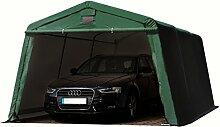 Zeltgarage 3,66x4,8 m Weidezelt PREMIUM Carport mit 500 g/m2 PVC Plane in dunkelgrün Unterstand Lagerzelt Garage aus 100% Stahl
