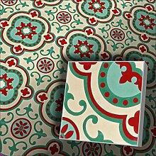 Zementfliesen Radia grün rot cremeweiß