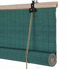 ZEMIN Bambusrollo Jalousette Venezianisch Schattierung Sonnenschutz Innen/Außen Installieren Anpassbar Klare Sicht Handhebend, 3 Farben Verfügbar, Bambus (Farbe : Green, Größe : 85x150CM)