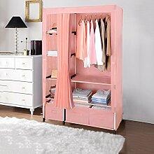 ZEMIN Garderobenständer Kleiderständer Boden Standing Coat Rack Kleider Hut Kleiderschrank Kleiderschrank Tuch Schrank Vorhänge Regal Schublade, 4 Farben zur Verfügung, 110 * 50 * 175CM ( Farbe : Pink )