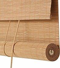 ZEMIN Rolltor Bambusrollo Jalousette Vorhang Schattierung Innen/Außen Installieren Fenster Sonnen Bildschirm Büro Klare Sicht Handhebend, Bambus (Farbe : D, Größe : 120x240cm)