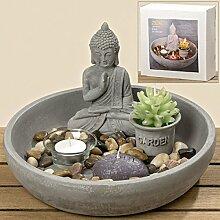 Zen Garten mit Buddha + Teelichthalter 6tlg 25 cm