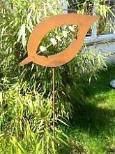 Zen Gartenstecker Beetstecker Glaskugel rost 115cm