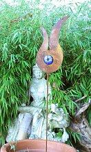 Zen Gartenstecker Beetstecker Glaskugel rost 120cm