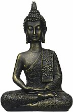 Zen Light Thai Buddha-Figur, Harz, Bronze, 10 x