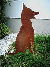 Zen Man Edelrost Gartenstecker Garten Hund Rost