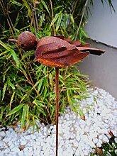 Zen Man Edelrost Gartenstecker GartenVogel Rost