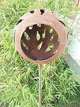 Zen Man Edelrost Gartenstecker Rost Kerzenständer