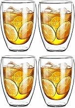 Zen Room ultra klares starkes doppeltes Wand-Glas, isoliertes Glas Kaffeehaferl orTea Schale, Getränk / Cocktail / Bier- / Eis-Tee-Gläser (4x330ml)