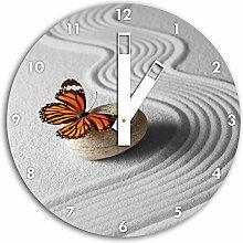 Zen Schmetterling B&W Detail, Wanduhr Durchmesser