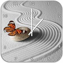 Zen Schmetterling B&W Detail, Wanduhr Durchmesser 48cm mit weißen spitzen Zeigern und Ziffernblatt, Dekoartikel, Designuhr, Aluverbund sehr schön für Wohnzimmer, Kinderzimmer, Arbeitszimmer