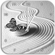 Zen Schmetterling Kunst B&W, Wanduhr Durchmesser