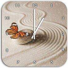 Zen Schmetterling Kunst Buntstift Effekt, Wanduhr