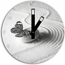Zen Schmetterling Kunst Kohle Effekt, Wanduhr
