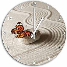 Zen Schmetterling, Wanduhr Durchmesser 48cm mit