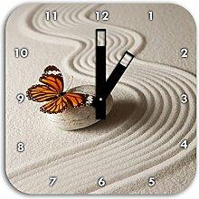 Zen Schmetterling, Wanduhr Quadratisch Durchmesser