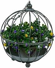 ZENGAI Blumen-Zahnstange Retro Eisen-Dekoration-Blumen-Rahmen-Vogel-Käfig-Verzierungen Hochzeits-Stützen Vogel-Käfig-Blumen-Korb Blumenregal ( größe : 28*35cm )