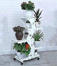 ZENGAI Blumenregal Holz Pflanze Rolle Display-Ständer, 2 Farben, 35,4 Zoll hoch ( Farbe : Weiß , größe : With wheels -66*96cm )