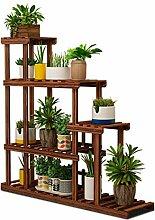 ZENGAI Blumentopf Rack Korrosionsschutz Massivholz Pflanzen Bonsai Ausstellungsstand Multilayer Einfach Handy, Mobiltelefon Lager Regal , 2 Farben ( Farbe : Braun , größe : 2# )