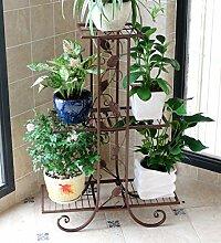 ZENGAI Blumentopf Rack Metall Mehrschichtig Innen Pflanzen Teetisch Ausstellungsstand ( Farbe : Braun , größe : 58*51cm )