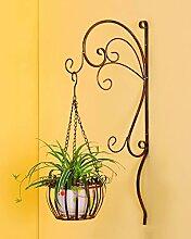 ZENGAI Eisen-Blumen-Rahmen Einfache Balkon-Wand-hängende Blumen-Zahnstange Hängende Orchideen-Topf-Wand-hängende Blumen-Zahnstange ( Farbe : B )