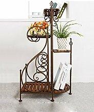 ZENGAI Eisen Mehrschichtige Blumenregale Massivholz Wohnzimmer Blumentöpfe Hängende Orchideen Regale ( Farbe : A )