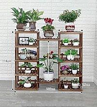 ZENGAI Freiheit Kombination Blumenständer Multifunktion Kiefernholz Fußboden Gartenarbeit Multilayer Regal Pflanzen Display-Ständer, 8 Größen ( Farbe : Braun , größe : 5+5 )