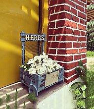 ZENGAI Garten-Dekoration-Blumen-Zahnstange, zum der alten Retro- Eisen-Netz-Blumen-Topf-Blumentopf-Blumen-Trog-Blumen-Zahnstange zu tun