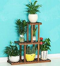 ZENGAI Massivholz Blumentopf Rack Drinnen Und Draußen Pflanzen Hartmetall Korrosionsschutz Pflanzen Bonsai Regal blumenständer (Farbe : Braun, größe : 81c-x25x71cm)
