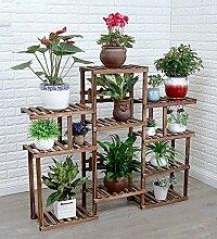 ZENGAI Massivholz Blumentopf Rack Lagerregale Mehrzweck Drinnen Und Draußen Bonsai Pflanzen Fußboden Groß Ausstellungsstand ( Farbe : Braun , größe : 131x114cm )