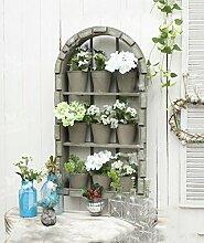 ZENGAI Retro Blume Rack / Massivholz Wand Hängende Blume Eimer Blume Blume Blumenrahmen Xuan Guan Balkon Hof Fenster Dekoration