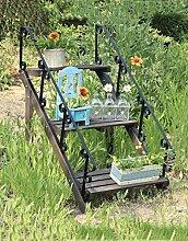 ZENGAI Retro-Massivholz-Blumen-Racks Eisen-Treppe Mehr Fleisch-Blumen-Racks Pastoral-Dorf-Häuser Aufbewahrungs-Racks Garten-Dekoration-Racks
