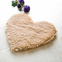 ZENGAI Teppiche Die neue nette herzförmige Normallack-Seide-Wolldecke-Auflage, Foyer-Matte, Hall-Matten, Tür-Matte ( Farbe : A , größe : 50*55cm-4.5cm )