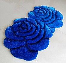 ZENGAI Teppiche Soft Silky Rose Teppich, Bedside, Eingang, Computer Stuhl Wolldecke Pad, Blue Teppich ( größe : 71*142cm )